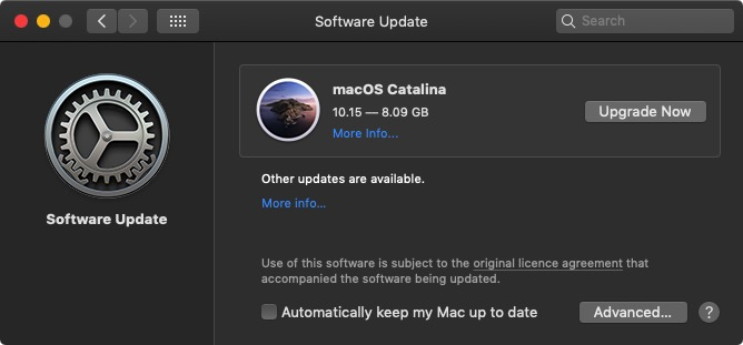 macOS Catalina update